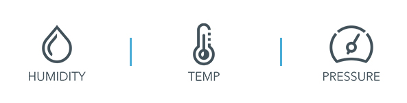 3 icons in a row: Humidity, Temperature and Pressure