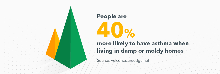 Chart showing that people are 40% more likely to have asthma when living in damp or moldy homes. Source: velcdn.azureedge.net
