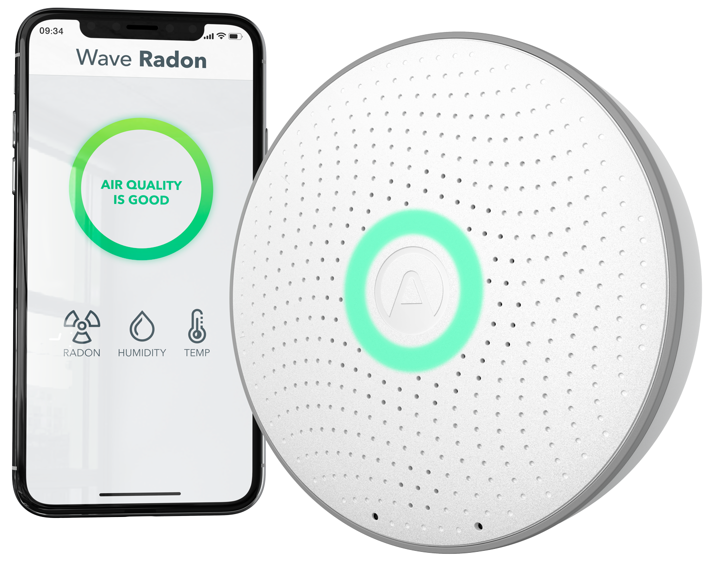 Airthings Wave Radon - Hero Image - Main with Simplified App_GLOW_WEB_Transparent